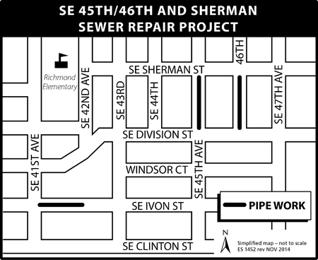 SE 45th/46th and Sherman map