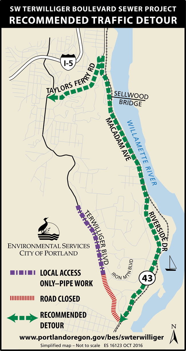 Sewer construction to close SW Terwilliger Blvd south of Castleridge
