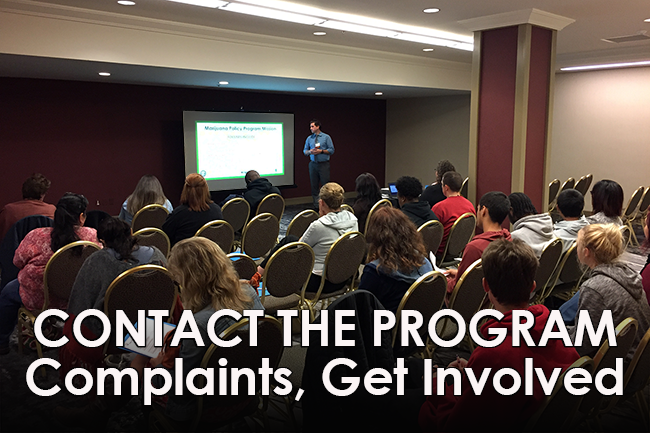 Click Here to Contact the Program for Complaints, to Get Involved, More