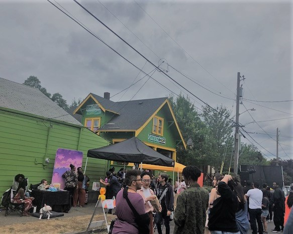 Picture of Green Hop's Block party.