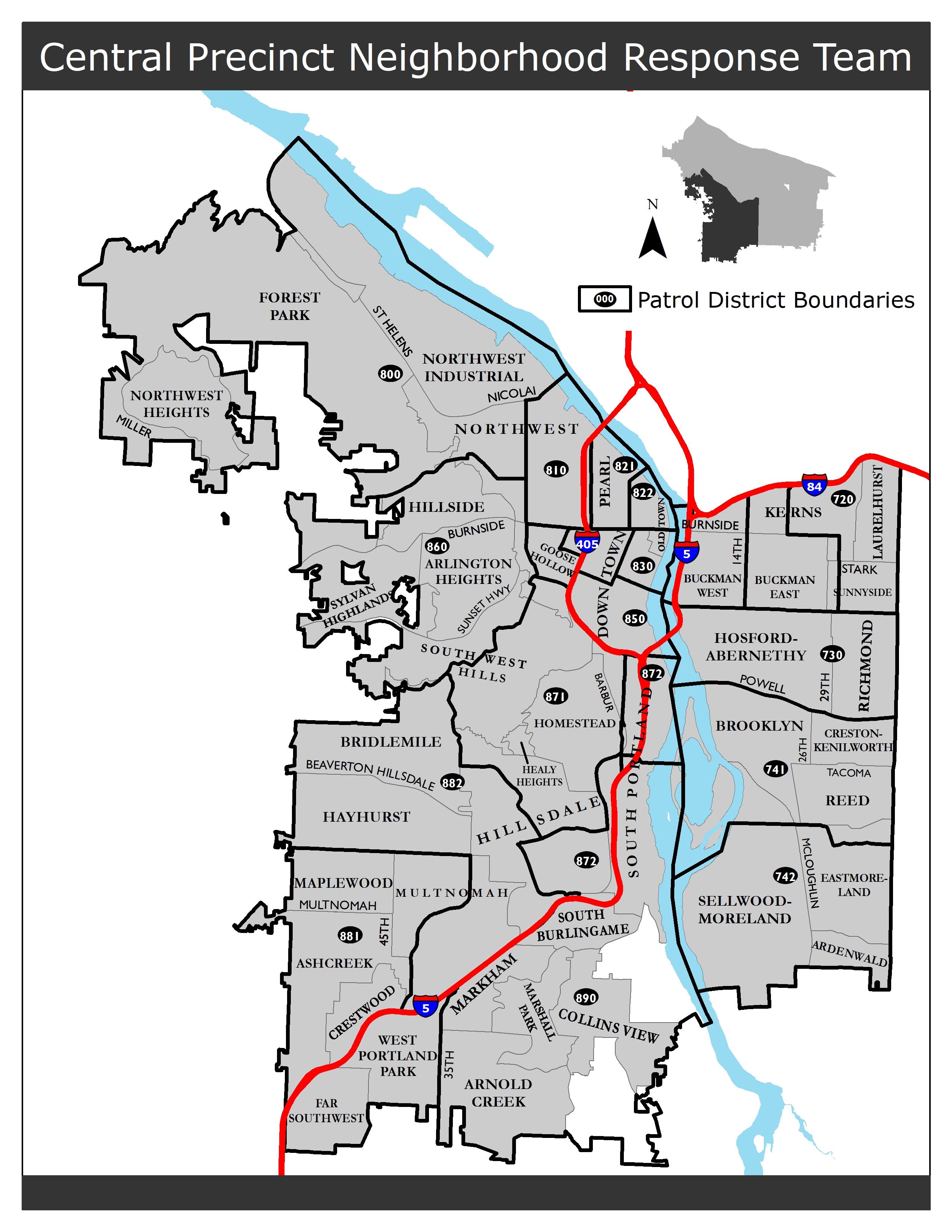 Oregon Precinct Map Precinct and Neighborhood Maps   The City of Portland, Oregon