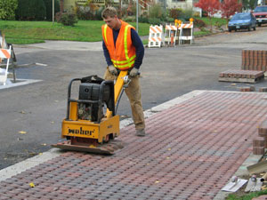 Photo: Installing parking strip pavers