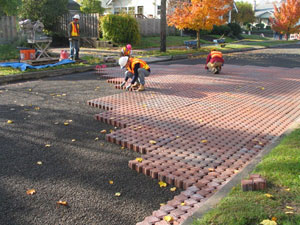 Photo: Installing street pavers
