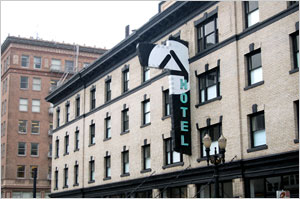 Historic Design Review approved renovations to the historic Clyde Hotel, now the Ace Hotel at SW 10th & Stark.