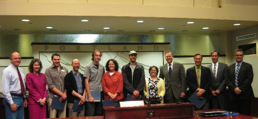 Commissioner Nick Fish was joined by representatives of local reuse organizations in Council this morning to recognize ReUse Week 2009.