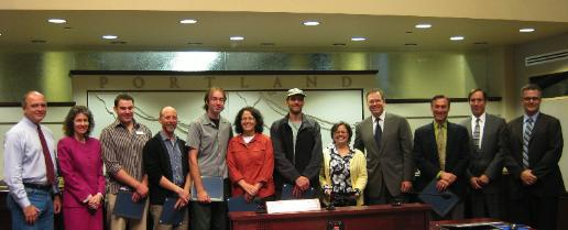 Commissioner Fish and his Portland City Council colleagues at the ReUse Week 2009 proclamation reading