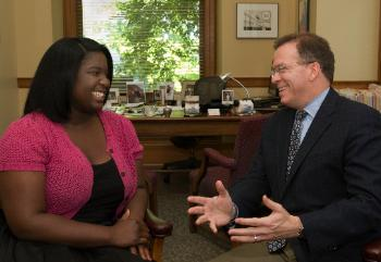 Portland, Oregon City Commissioner Nick Fish with Multnomah Youth Commissioner Shantel Monk.