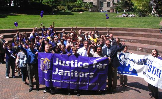 Commissioner Fish spoke at the Justice For Janitors event in late June across the street from City Hall.