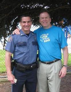 Commissioner Fish with Portland Police Bureau Commander Mike Crebs.