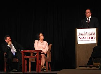 "Commissioner Fish addresses the NAHRO ""Recovery and Reinvestment - Strengthening Our Communities, Regions, and the Nation"" conference in Portland, July 2009."