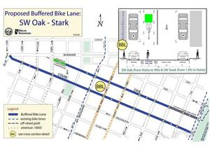 SW Stark & SW Oak Enhanced Bicycle Lane Corridor