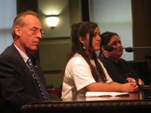 "PSU President Wim Weivel, ""Papers"" Youth Crew  leader Vanessa Dominguez, and ""Papers"" Producer Rebecca Shine address Council"