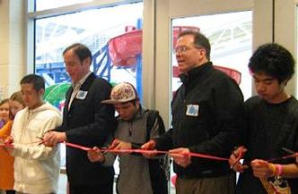 Cutting the ribbon on the East Portland Community Center earlier this year