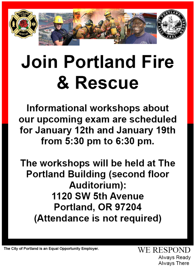 Informational Workshops about PF&R's Upcoming Firefighter