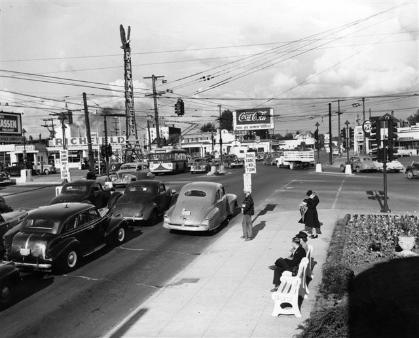 Intersection at E Burnside, Sandy & 12th in 1948