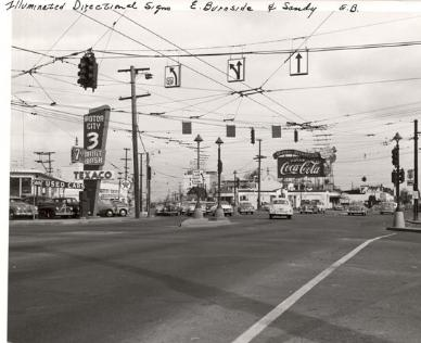 Intersection at E Burnside, Sandy & 12th in 1953