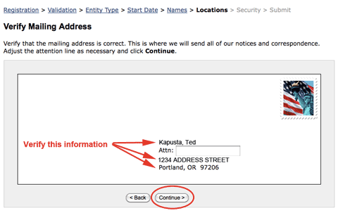 Image: verify mailing address