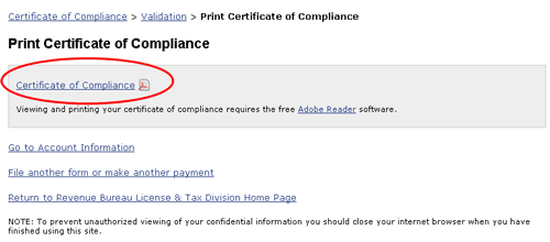 Image: print certificate of compliance