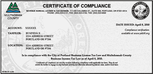 Account services frequently asked questions the city of portland image copy of certificate of compliance thecheapjerseys Image collections