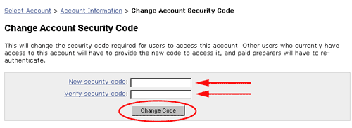 Image: change security code