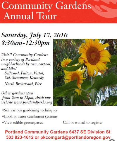 Parks' 2010 Community Gardens Tour is coming up!