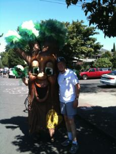 Commissioner Fish pictured with Friends of Trees mascot (fake tree with a face)