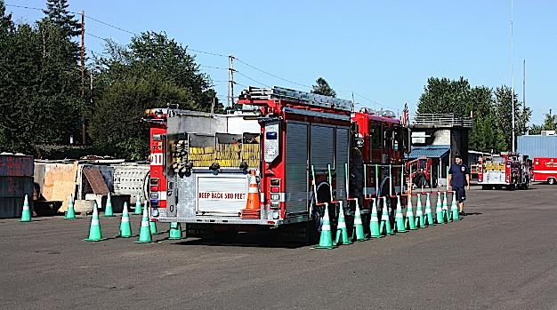 each year, portland firefighters are required to practice navigating at a  cone course set up at portland fire & rescue's training grounds in ne  portland