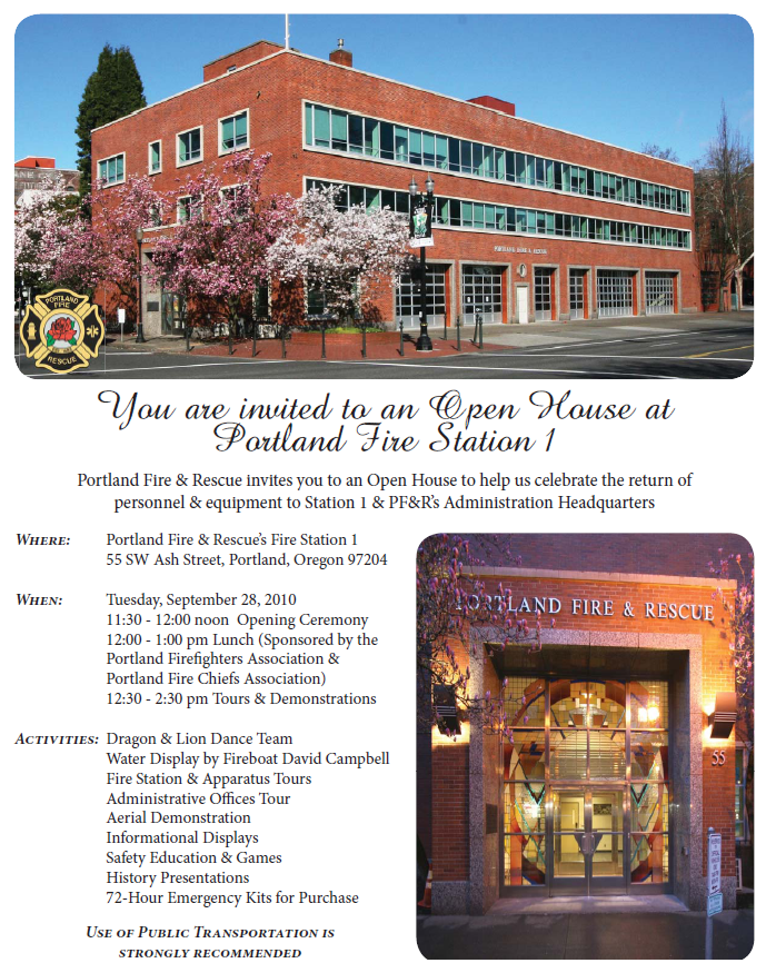 All Are Invited to Portland Fire Station 1's Open House on