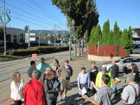 N/NE Quadrant Project team member, Karl Lisle, speaks to community walking tour participants in the Lloyd District