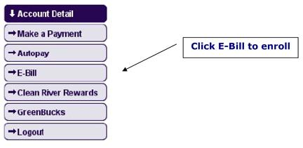 Visual view of e-bill sign up