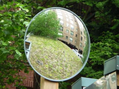 The new mirror at the PSU Bike Shelter