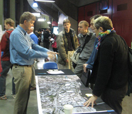 Fred Eberle (from ODOT) discusses I-5 and transportation issues with Open House attendees