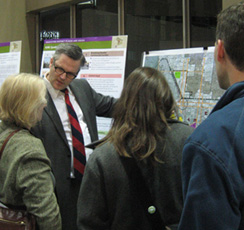 Mayor Adams talks through Urban Design issues with Open House attendees
