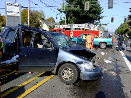 Portland Fire & Rescue Responds to Pin-In Traffic Accident
