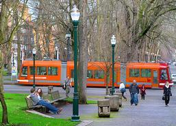 The Portland train travels through the park blocks