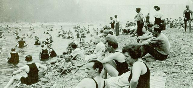 Historical photo of swimmers at Dodge Park