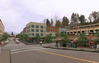 One scenario showing a moderate level of mixed use along SW 13th Ave between Barbur and Bertha