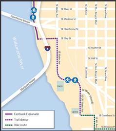 Map of Temporary Eastbank Esplanade closure