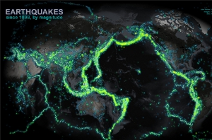 Map reveals world's earthquakes since 1898