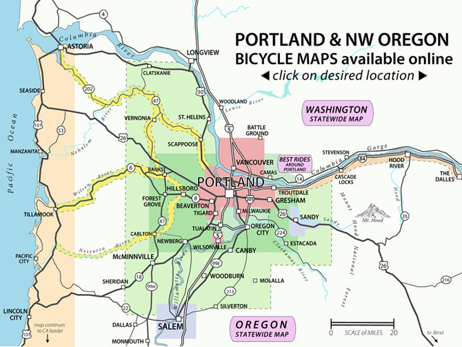 portland oregon area map Recreational Bicycling Rides Maps The City Of Portland Oregon portland oregon area map