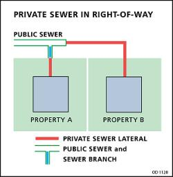 private sewer in the right-of-way