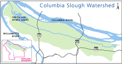 Columbia Slough watershed map