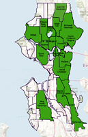 Map of Seattle's Neighborhood Greenway groups