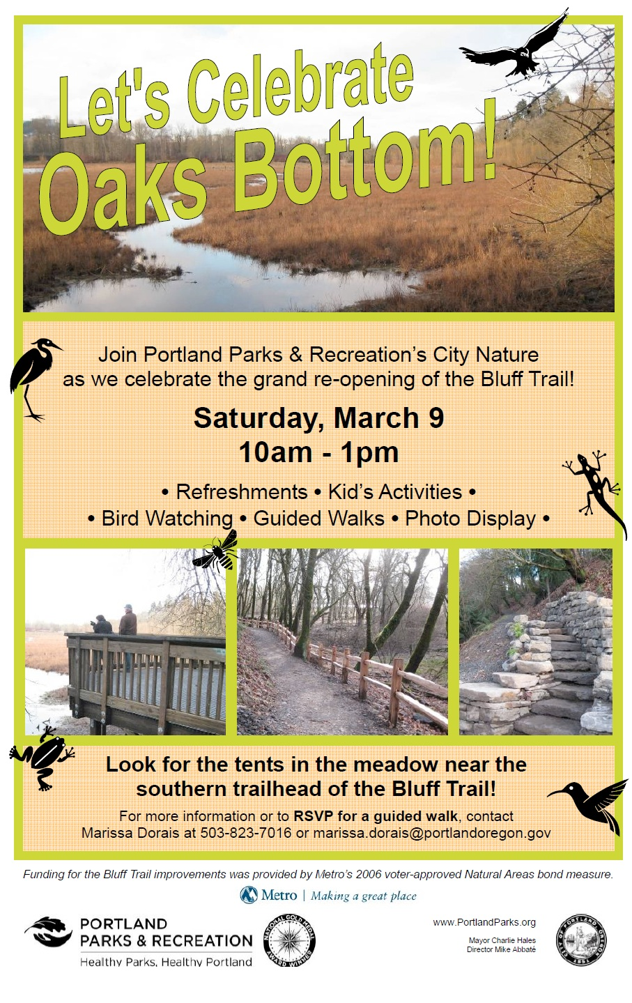 Flyer for Oaks Bottom Celebration on March 9