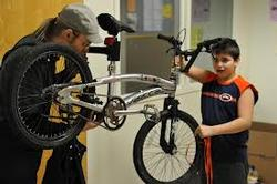 Bike mechanic at Fix-it Fair