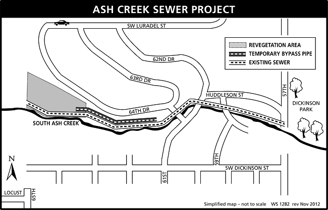 map of Ash Creek sewer project