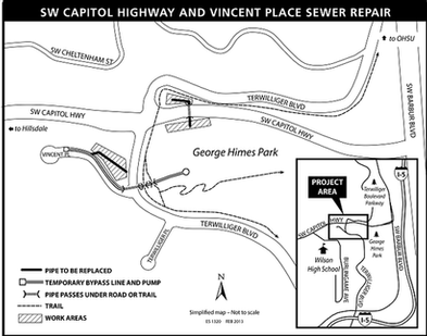 map of SW Capitol Highway and Vincent sewer project