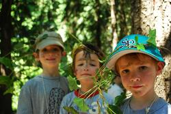 Nature Day Camp boys with ivy crowns