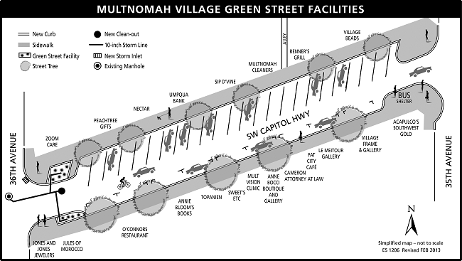 map of Multnomah Village green streets project