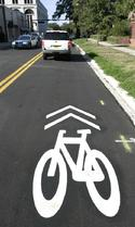 "Shared lane marking or ""Sharrow"""
